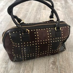 Michael Kors Brown Patchwork Leather Gold Studded